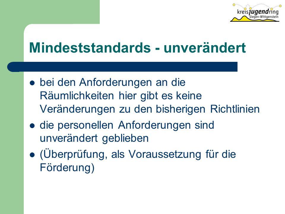 Mindeststandards - unverändert bei den Anforderungen an die Räumlichkeiten hier gibt es keine Veränderungen zu den bisherigen Richtlinien die personellen Anforderungen sind unverändert geblieben (Überprüfung, als Voraussetzung für die Förderung)