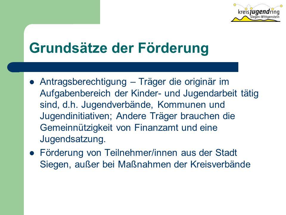 Grundsätze der Förderung Antragsberechtigung – Träger die originär im Aufgabenbereich der Kinder- und Jugendarbeit tätig sind, d.h.