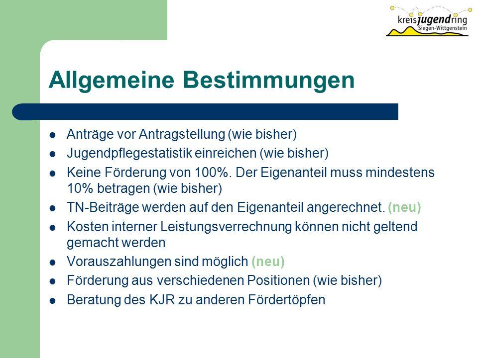 Allgemeine Bestimmungen Anträge vor Antragstellung (wie bisher) Jugendpflegestatistik einreichen (wie bisher) Keine Förderung von 100%.