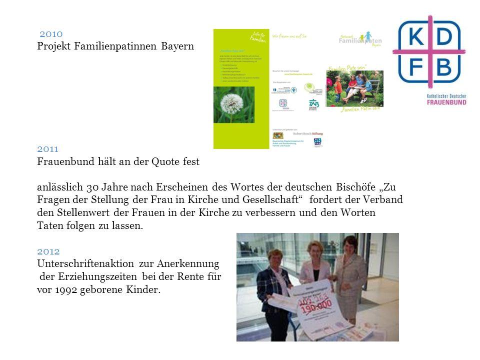 """2010 Projekt Familienpatinnen Bayern 2011 Frauenbund hält an der Quote fest anlässlich 30 Jahre nach Erscheinen des Wortes der deutschen Bischöfe """"Zu"""