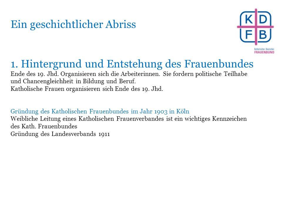 Ein geschichtlicher Abriss 1. Hintergrund und Entstehung des Frauenbundes Ende des 19.