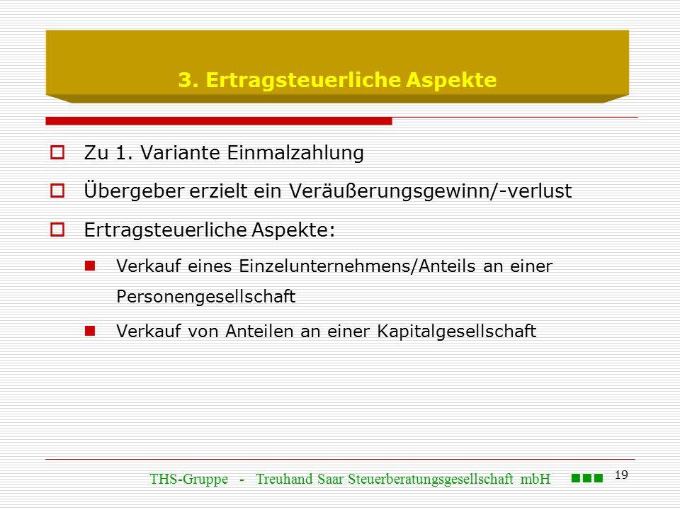 19 3. Ertragsteuerliche Aspekte  Zu 1.