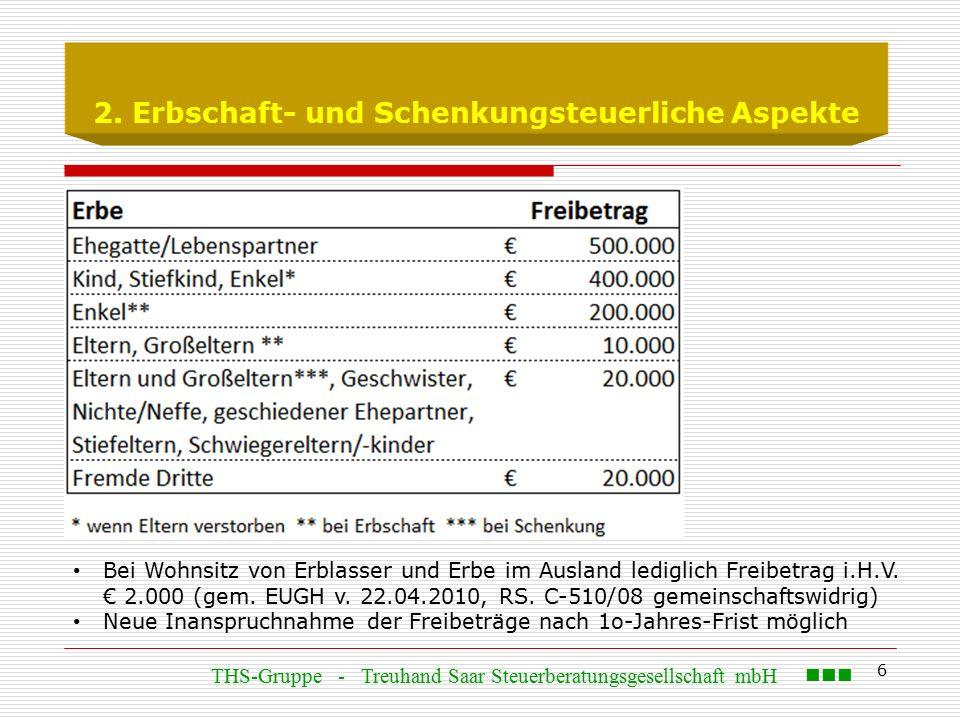 6 2. Erbschaft- und Schenkungsteuerliche Aspekte Bei Wohnsitz von Erblasser und Erbe im Ausland lediglich Freibetrag i.H.V. € 2.000 (gem. EUGH v. 22.0