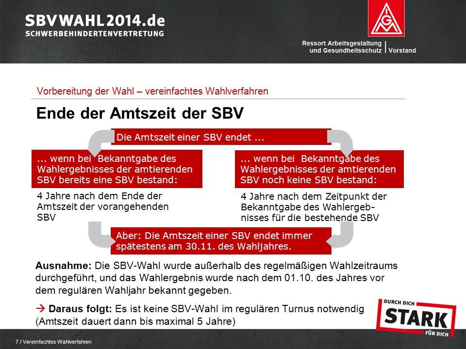 7 / Vereinfachtes Wahlverfahren 4 Jahre nach dem Ende der Amtszeit der vorangehenden SBV 4 Jahre nach dem Zeitpunkt der Bekanntgabe des Wahlergeb- nisses für die bestehende SBV Die Amtszeit einer SBV endet......