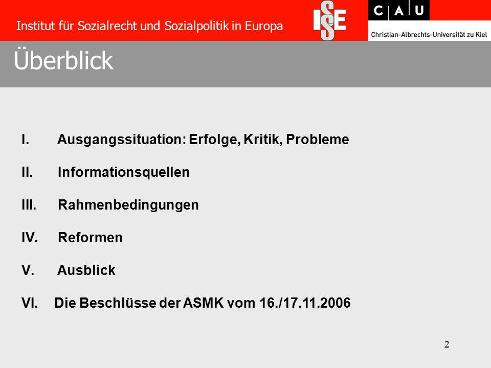 2 Überblick Institut für Sozialrecht und Sozialpolitik in Europa I.