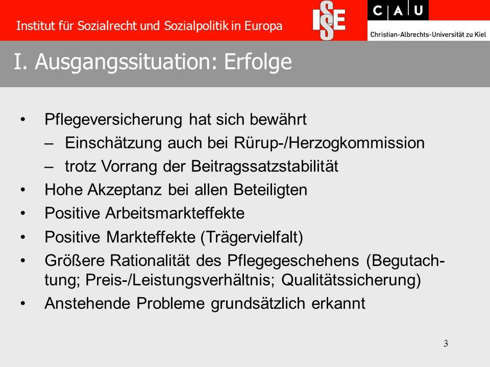 3 I. Ausgangssituation: Erfolge Institut für Sozialrecht und Sozialpolitik in Europa Pflegeversicherung hat sich bewährt –Einschätzung auch bei Rürup-
