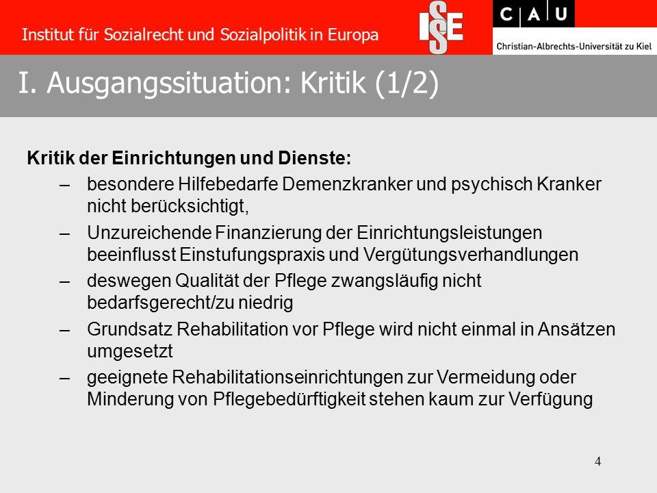 4 I. Ausgangssituation: Kritik (1/2) Institut für Sozialrecht und Sozialpolitik in Europa Kritik der Einrichtungen und Dienste: –besondere Hilfebedarf