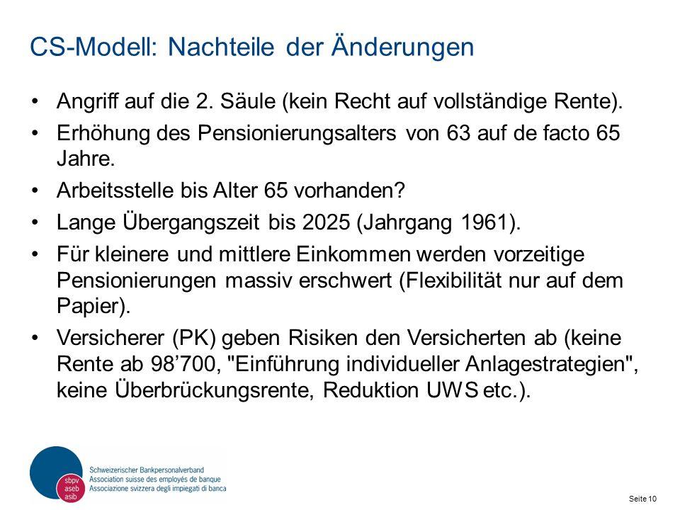 Seite 10 Schweizerischer Bankpersonalverband SBPV CS-Modell: Nachteile der Änderungen Angriff auf die 2.