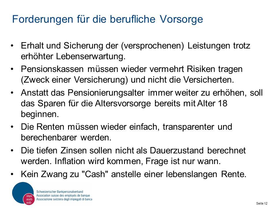 Seite 12 Schweizerischer Bankpersonalverband SBPV Forderungen für die berufliche Vorsorge Erhalt und Sicherung der (versprochenen) Leistungen trotz erhöhter Lebenserwartung.