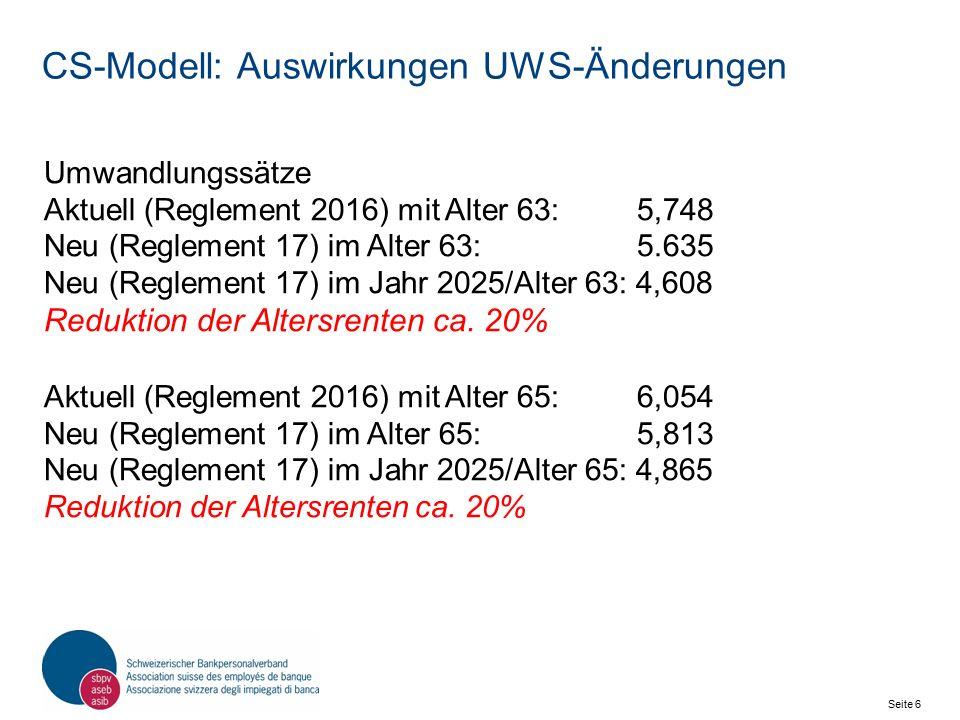 Seite 7 Schweizerischer Bankpersonalverband SBPV CS-Modell: Praxisbeispiel Letzter Bruttolohn vor Pensionierung: 90'000 CHF.