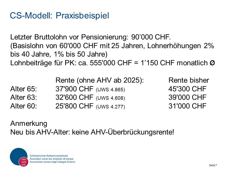 Seite 8 Schweizerischer Bankpersonalverband SBPV CS-Modell: Referenzalter 65 Ist das Referenzalter Theorie.