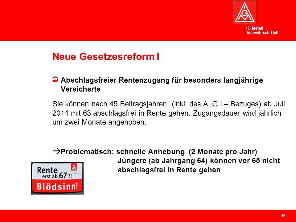 IG Metall Schwäbisch Hall Neue Gesetzesreform I Abschlagsfreier Rentenzugang für besonders langjährige Versicherte Sie können nach 45 Beitragsjahren (inkl.