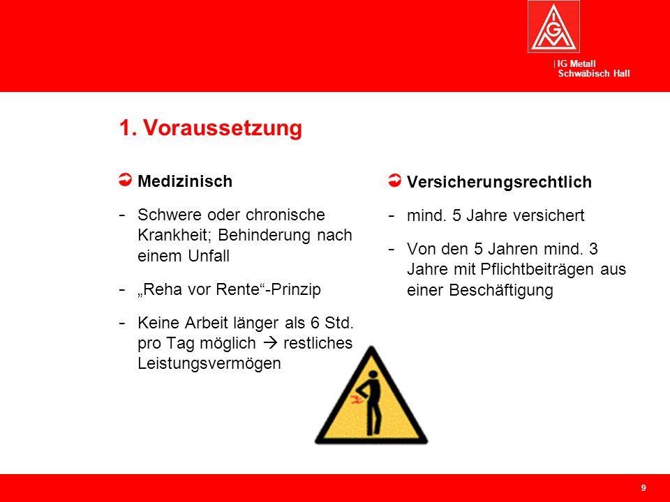"""IG Metall Schwäbisch Hall 1. Voraussetzung Medizinisch - Schwere oder chronische Krankheit; Behinderung nach einem Unfall - """"Reha vor Rente""""-Prinzip -"""