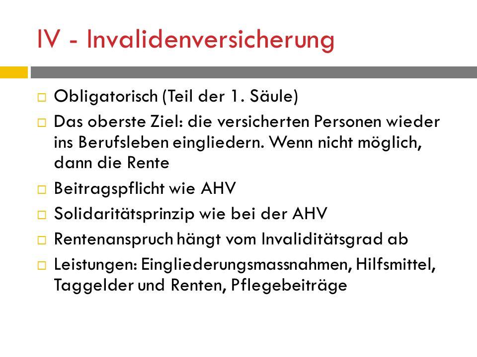 IV - Invalidenversicherung  Obligatorisch (Teil der 1.