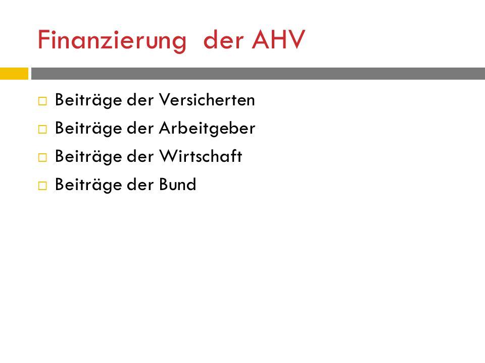 Finanzierung der AHV  Beiträge der Versicherten  Beiträge der Arbeitgeber  Beiträge der Wirtschaft  Beiträge der Bund