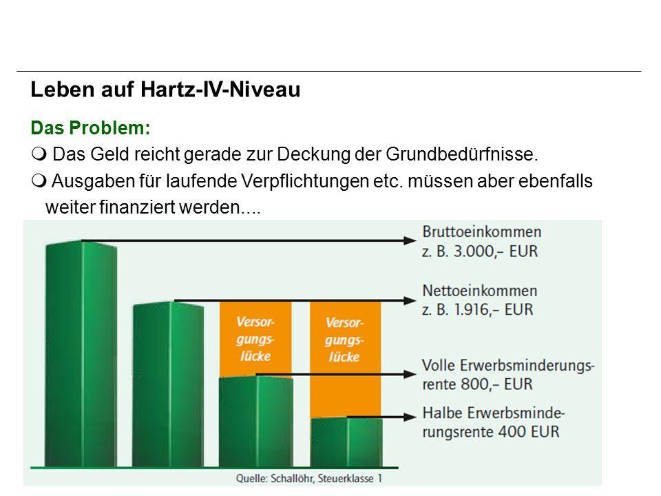 Das Problem: m Das Geld reicht gerade zur Deckung der Grundbedürfnisse.