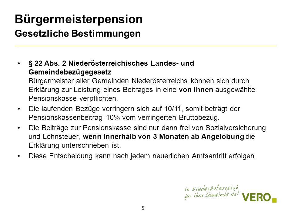 Bürgermeisterpension Gesetzliche Bestimmungen § 22 Abs.