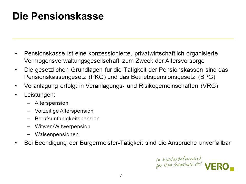 Die Pensionskasse Pensionskasse ist eine konzessionierte, privatwirtschaftlich organisierte Vermögensverwaltungsgesellschaft zum Zweck der Altersvorsorge Die gesetzlichen Grundlagen für die Tätigkeit der Pensionskassen sind das Pensionskassengesetz (PKG) und das Betriebspensionsgesetz (BPG) Veranlagung erfolgt in Veranlagungs- und Risikogemeinschaften (VRG) Leistungen: –Alterspension –Vorzeitige Alterspension –Berufsunfähigkeitspension –Witwen/Witwerpension –Waisenpensionen Bei Beendigung der Bürgermeister-Tätigkeit sind die Ansprüche unverfallbar 7