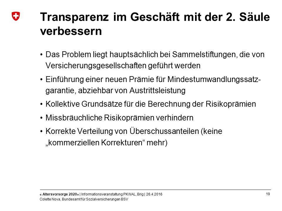 19 « Altersvorsorge 2020» | Informationsveranstaltung PKWAL, Brig | 26.4.2016 Colette Nova, Bundesamt für Sozialversicherungen BSV Transparenz im Geschäft mit der 2.