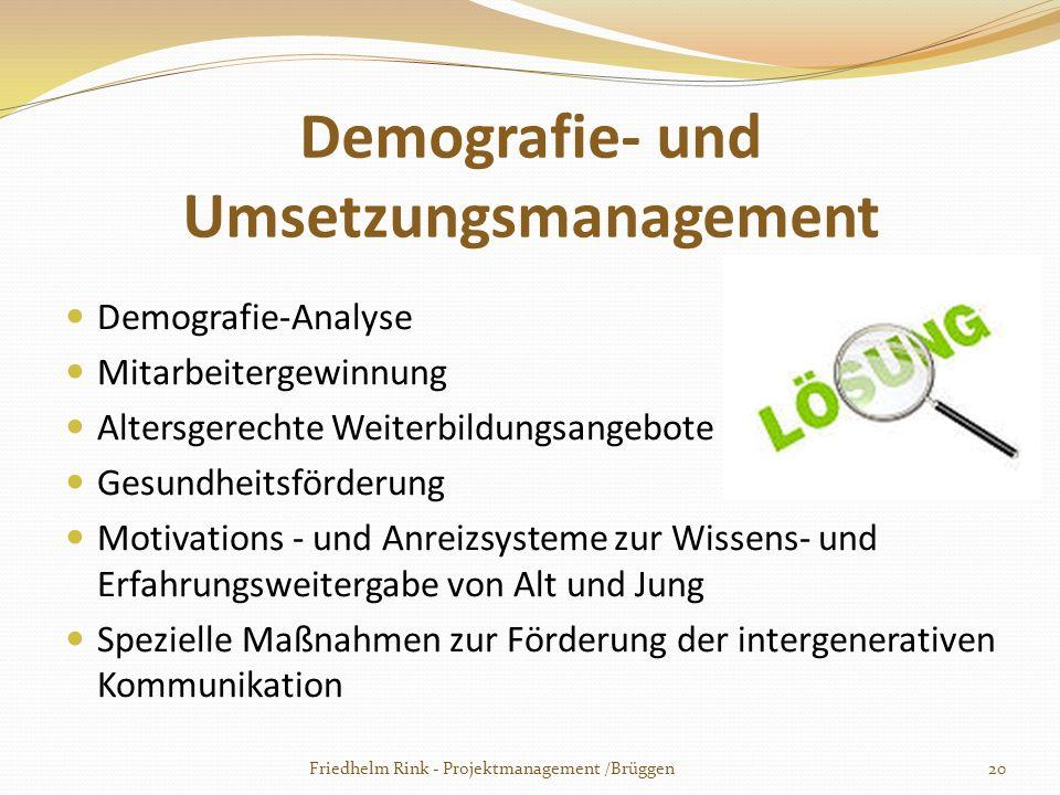 Demografie- und Umsetzungsmanagement Demografie-Analyse Mitarbeitergewinnung Altersgerechte Weiterbildungsangebote Gesundheitsförderung Motivations -