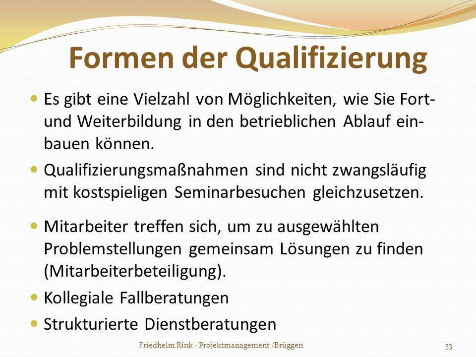 Formen der Qualifizierung Es gibt eine Vielzahl von Möglichkeiten, wie Sie Fort- und Weiterbildung in den betrieblichen Ablauf ein- bauen können. Qual