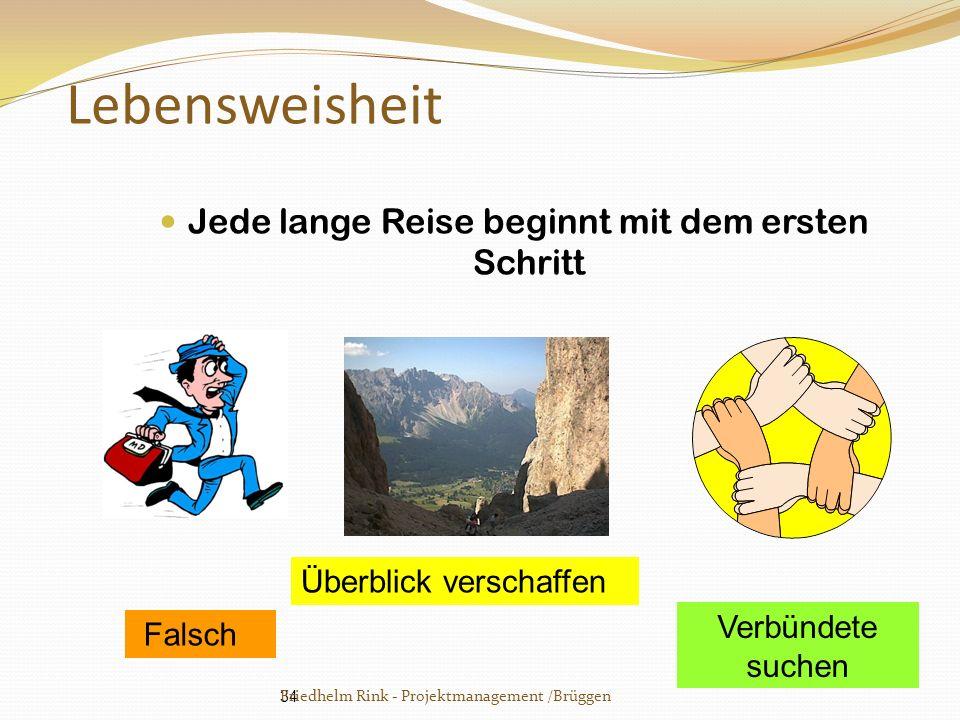34 Lebensweisheit Jede lange Reise beginnt mit dem ersten Schritt Falsch Überblick verschaffen Verbündete suchen Friedhelm Rink - Projektmanagement /B