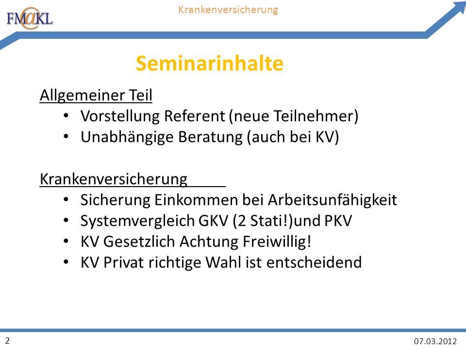 07.03.2012 23 Krankenversicherung Wichtig: Frühzeitig Optionstarif abschliessen!!.