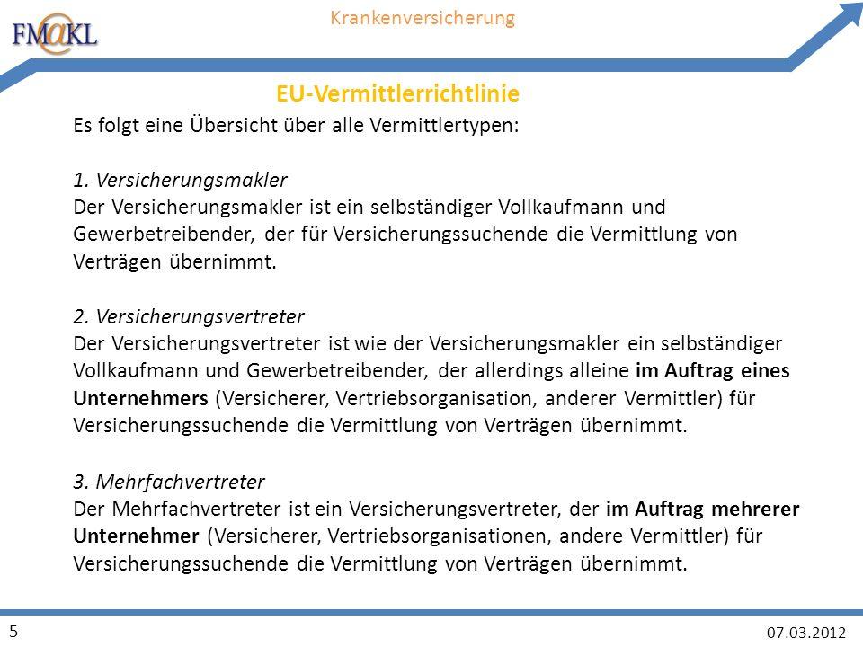 07.03.2012 5 Krankenversicherung Es folgt eine Übersicht über alle Vermittlertypen: 1.