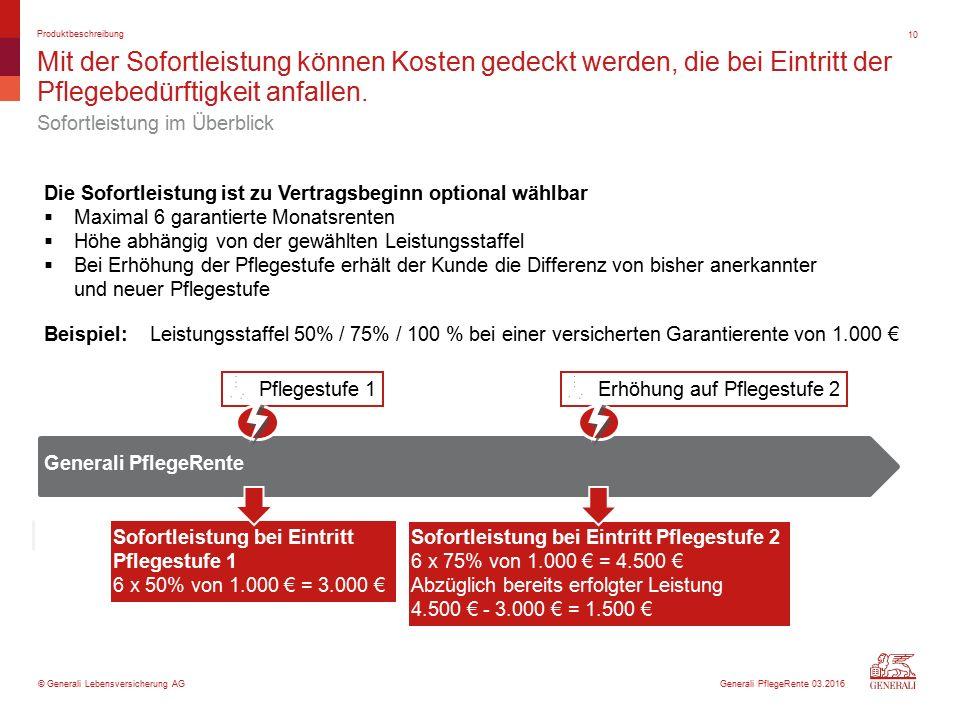© Generali Lebensversicherung AG Mit der Sofortleistung können Kosten gedeckt werden, die bei Eintritt der Pflegebedürftigkeit anfallen.