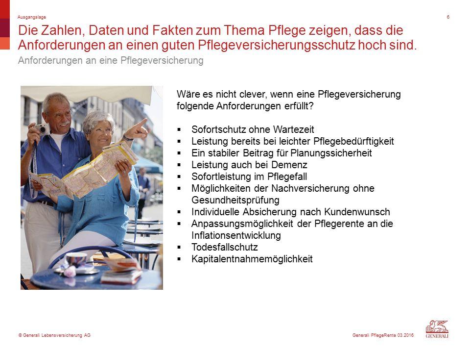© Generali Lebensversicherung AG Die PflegeRente enthält durch attraktiven Sofortbonus, Leistungsdynamik und jährliche Rentensteigerungen hervorragende Zusatzleistungen.