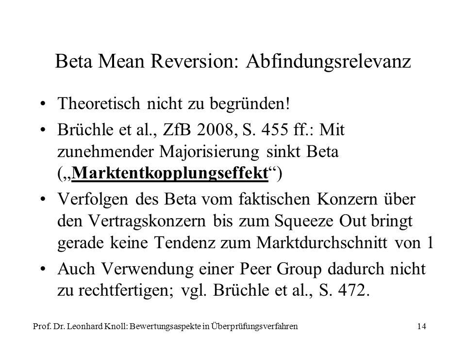 Beta Mean Reversion: Abfindungsrelevanz Theoretisch nicht zu begründen! Brüchle et al., ZfB 2008, S. 455 ff.: Mit zunehmender Majorisierung sinkt Beta