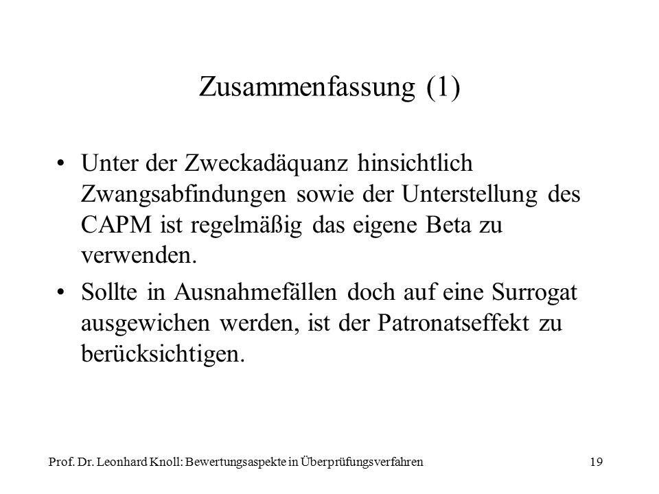 19 Zusammenfassung (1) Unter der Zweckadäquanz hinsichtlich Zwangsabfindungen sowie der Unterstellung des CAPM ist regelmäßig das eigene Beta zu verwenden.
