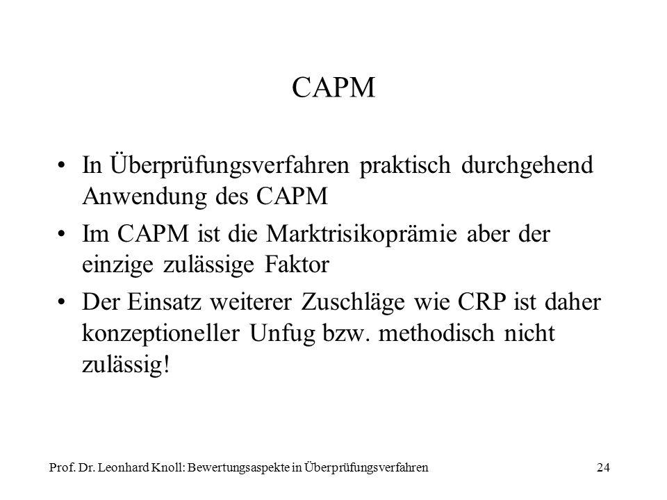 CAPM In Überprüfungsverfahren praktisch durchgehend Anwendung des CAPM Im CAPM ist die Marktrisikoprämie aber der einzige zulässige Faktor Der Einsatz weiterer Zuschläge wie CRP ist daher konzeptioneller Unfug bzw.