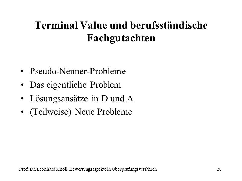 Terminal Value und berufsständische Fachgutachten Pseudo-Nenner-Probleme Das eigentliche Problem Lösungsansätze in D und A (Teilweise) Neue Probleme Prof.