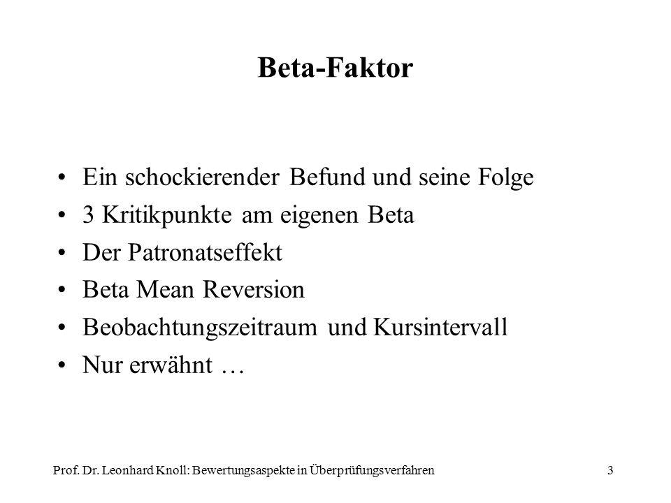 Beta-Faktor Ein schockierender Befund und seine Folge 3 Kritikpunkte am eigenen Beta Der Patronatseffekt Beta Mean Reversion Beobachtungszeitraum und Kursintervall Nur erwähnt … Prof.