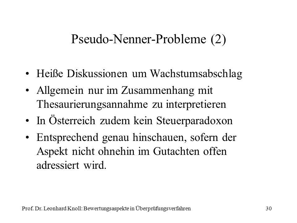 Pseudo-Nenner-Probleme (2) Heiße Diskussionen um Wachstumsabschlag Allgemein nur im Zusammenhang mit Thesaurierungsannahme zu interpretieren In Österreich zudem kein Steuerparadoxon Entsprechend genau hinschauen, sofern der Aspekt nicht ohnehin im Gutachten offen adressiert wird.