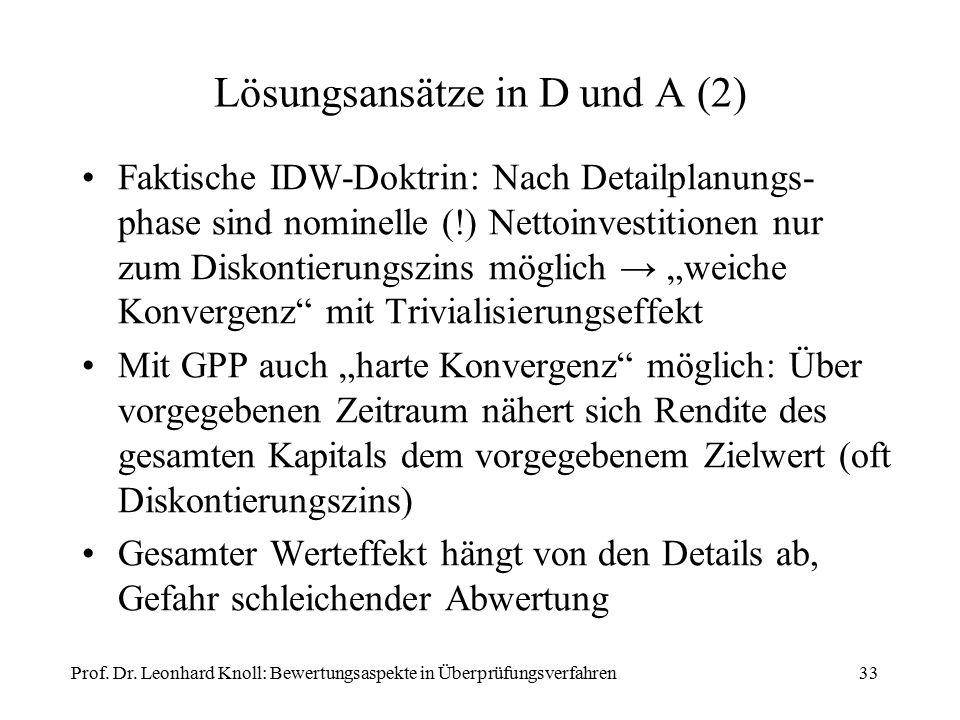 Lösungsansätze in D und A (2) Faktische IDW-Doktrin: Nach Detailplanungs- phase sind nominelle (!) Nettoinvestitionen nur zum Diskontierungszins mögli