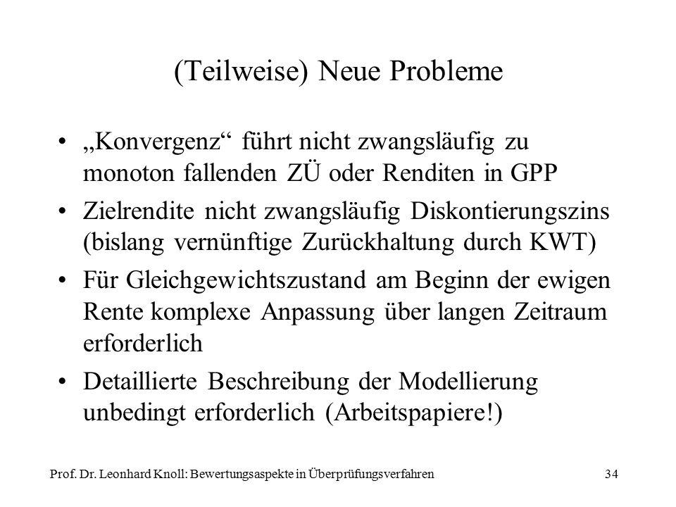 """(Teilweise) Neue Probleme """"Konvergenz"""" führt nicht zwangsläufig zu monoton fallenden ZÜ oder Renditen in GPP Zielrendite nicht zwangsläufig Diskontier"""