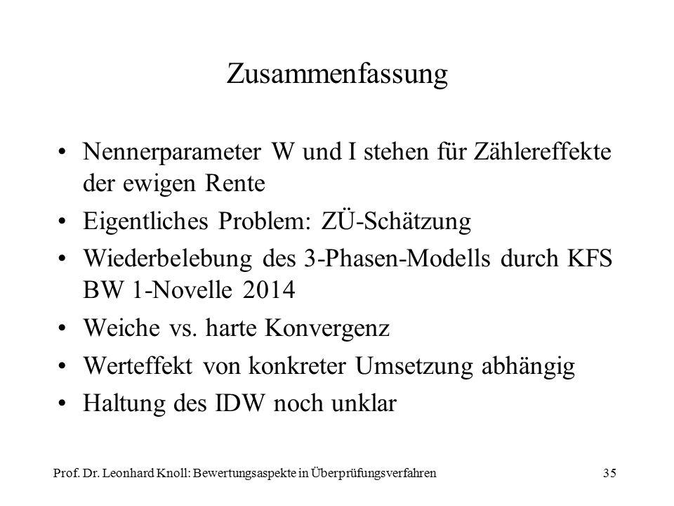 Zusammenfassung Nennerparameter W und I stehen für Zählereffekte der ewigen Rente Eigentliches Problem: ZÜ-Schätzung Wiederbelebung des 3-Phasen-Modells durch KFS BW 1-Novelle 2014 Weiche vs.