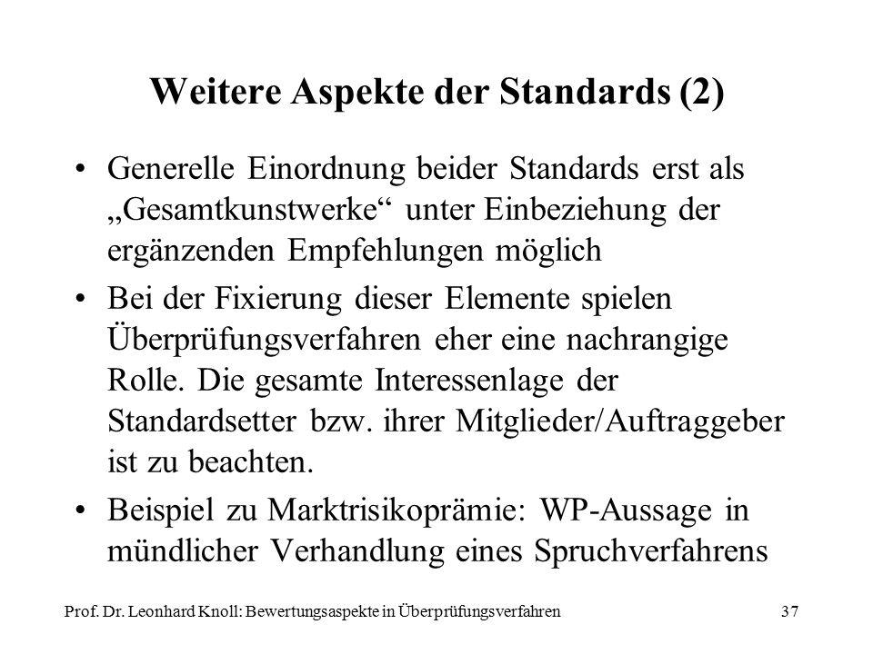 """Weitere Aspekte der Standards (2) Generelle Einordnung beider Standards erst als """"Gesamtkunstwerke unter Einbeziehung der ergänzenden Empfehlungen möglich Bei der Fixierung dieser Elemente spielen Überprüfungsverfahren eher eine nachrangige Rolle."""