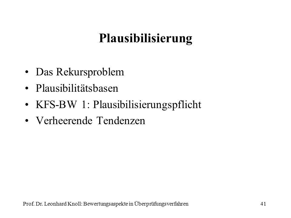 Plausibilisierung Das Rekursproblem Plausibilitätsbasen KFS-BW 1: Plausibilisierungspflicht Verheerende Tendenzen Prof. Dr. Leonhard Knoll: Bewertungs