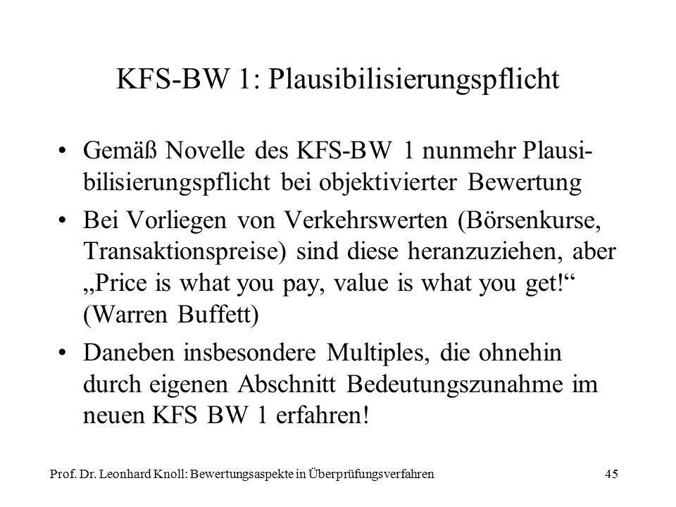 """KFS-BW 1: Plausibilisierungspflicht Gemäß Novelle des KFS-BW 1 nunmehr Plausi- bilisierungspflicht bei objektivierter Bewertung Bei Vorliegen von Verkehrswerten (Börsenkurse, Transaktionspreise) sind diese heranzuziehen, aber """"Price is what you pay, value is what you get! (Warren Buffett) Daneben insbesondere Multiples, die ohnehin durch eigenen Abschnitt Bedeutungszunahme im neuen KFS BW 1 erfahren."""