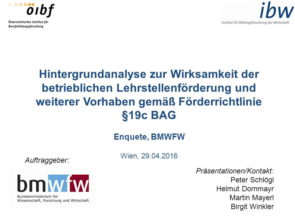Hintergrundanalyse zur Wirksamkeit der betrieblichen Lehrstellenförderung und weiterer Vorhaben gemäß Förderrichtlinie §19c BAG Enquete, BMWFW Wien, 2