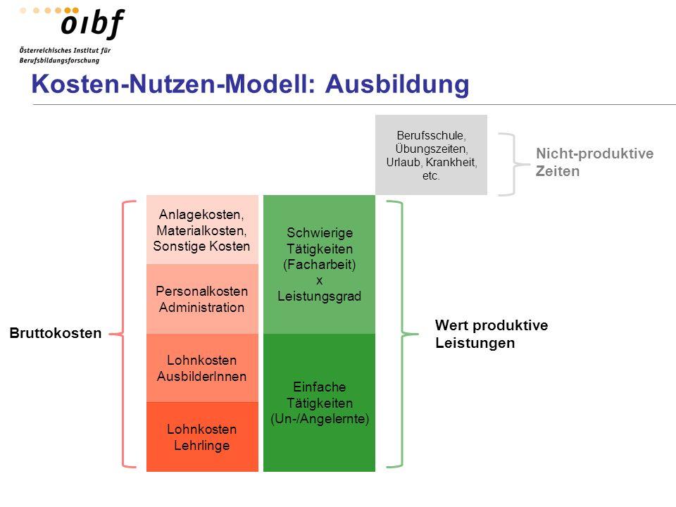 Kosten-Nutzen-Modell: Ausbildung Lohnkosten Lehrlinge Lohnkosten AusbilderInnen Personalkosten Administration Anlagekosten, Materialkosten, Sonstige K