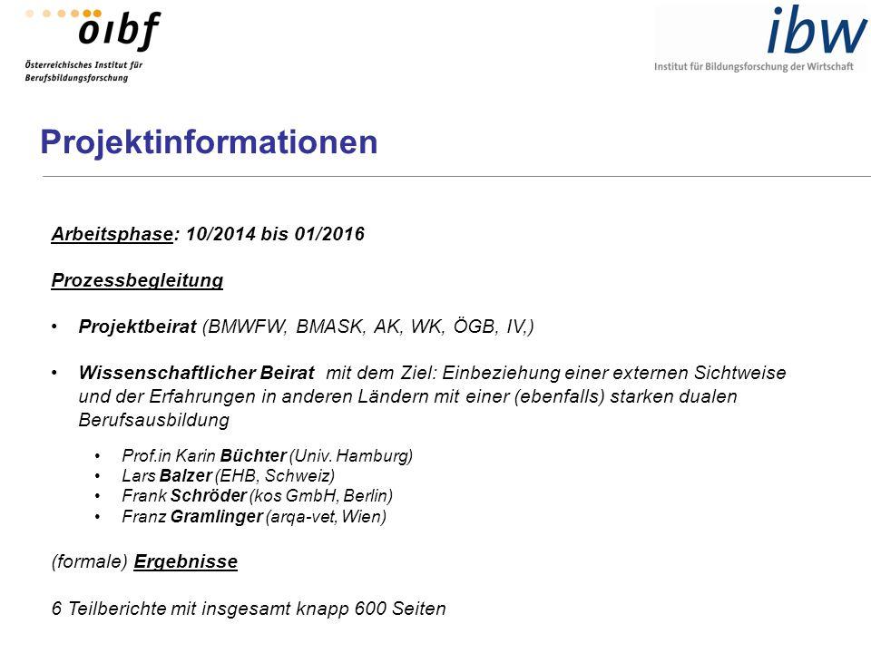 Projektinformationen Arbeitsphase: 10/2014 bis 01/2016 Prozessbegleitung Projektbeirat (BMWFW, BMASK, AK, WK, ÖGB, IV,) Wissenschaftlicher Beirat mit