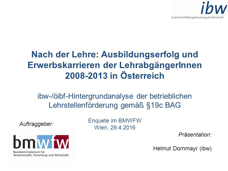 Nach der Lehre: Ausbildungserfolg und Erwerbskarrieren der LehrabgängerInnen 2008-2013 in Österreich ibw-/öibf-Hintergrundanalyse der betrieblichen Le