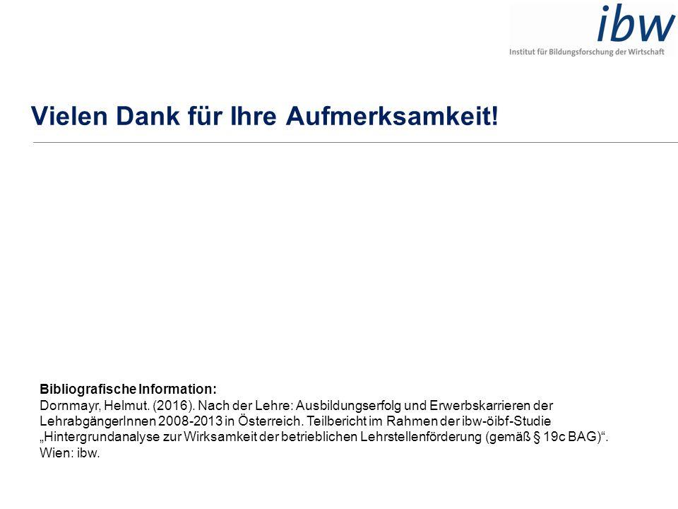 Vielen Dank für Ihre Aufmerksamkeit! Bibliografische Information: Dornmayr, Helmut. (2016). Nach der Lehre: Ausbildungserfolg und Erwerbskarrieren der