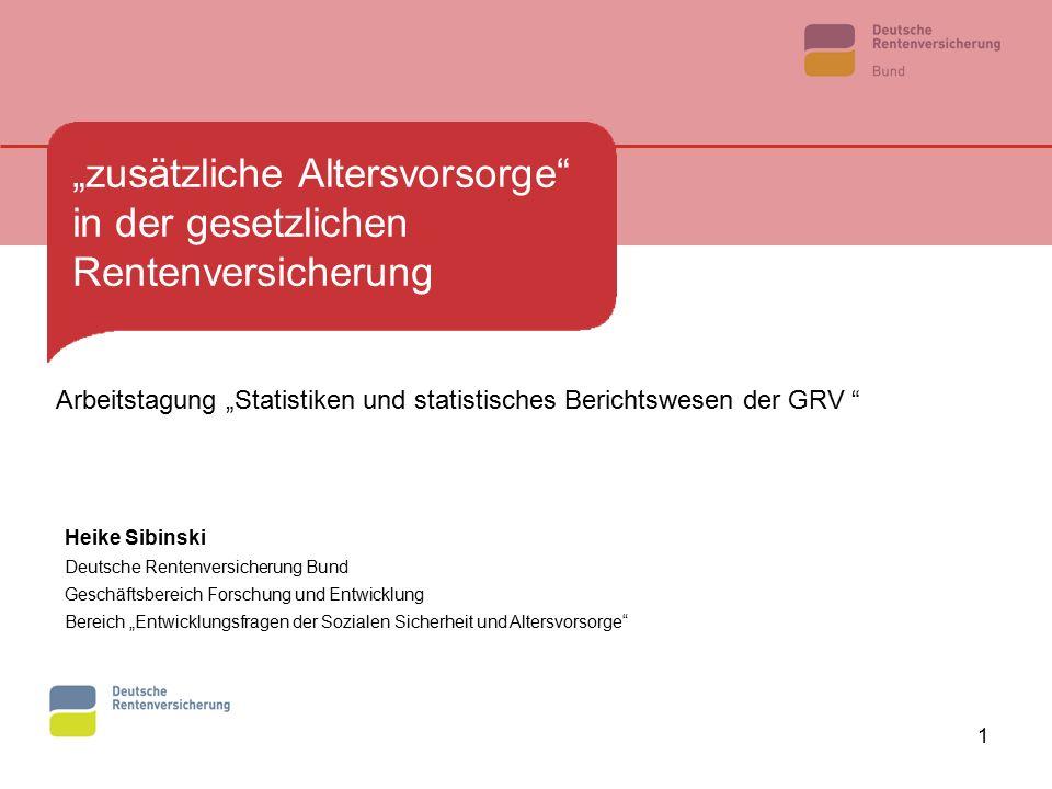 """1 """"zusätzliche Altersvorsorge"""" in der gesetzlichen Rentenversicherung Heike Sibinski Deutsche Rentenversicherung Bund Geschäftsbereich Forschung und E"""