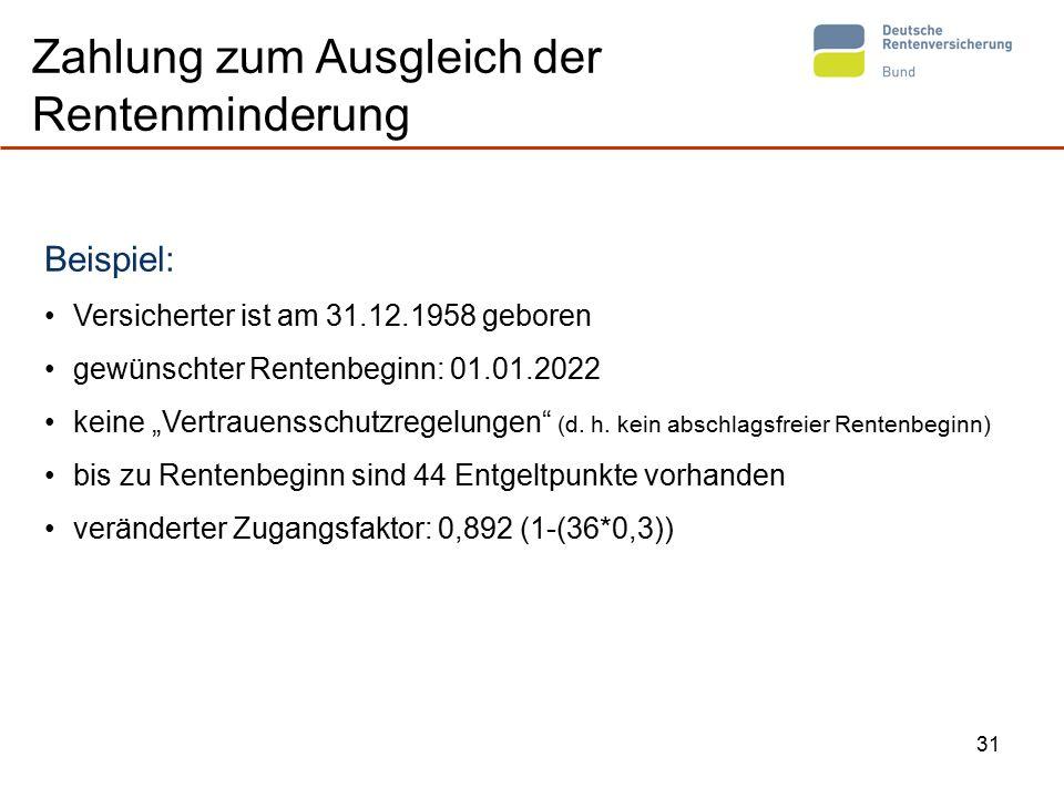 """31 Zahlung zum Ausgleich der Rentenminderung Beispiel: Versicherter ist am 31.12.1958 geboren gewünschter Rentenbeginn: 01.01.2022 keine """"Vertrauensschutzregelungen (d."""