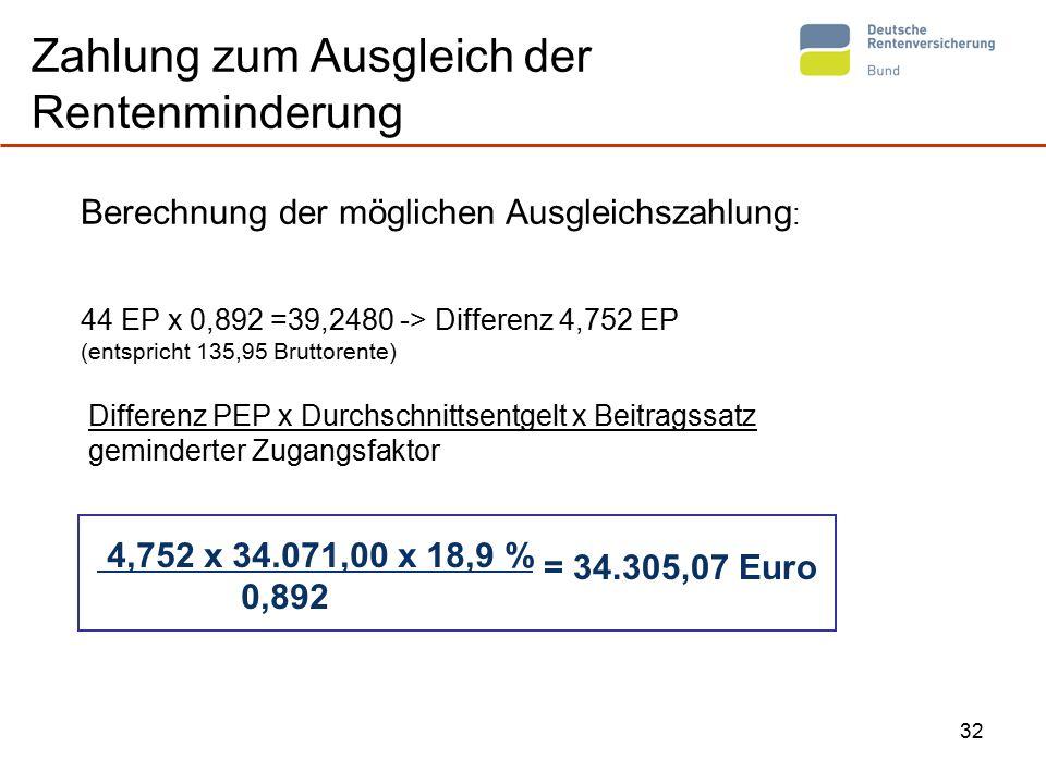 32 Zahlung zum Ausgleich der Rentenminderung Differenz PEP x Durchschnittsentgelt x Beitragssatz geminderter Zugangsfaktor Berechnung der möglichen Ausgleichszahlung : 44 EP x 0,892 =39,2480 -> Differenz 4,752 EP (entspricht 135,95 Bruttorente) 4,752 x 34.071,00 x 18,9 % 0,892 = 34.305,07 Euro